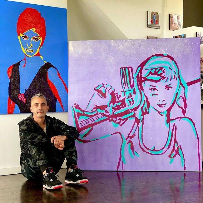 Dr. Richard Zoumalan with his painting